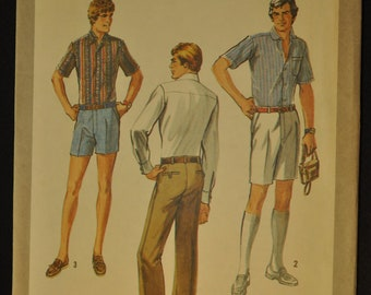 Tall Men's Pants in Three Lengths Size 32-34-36-39 Uncut Vintage 1970s Sewing Pattern-Simplicity 8877