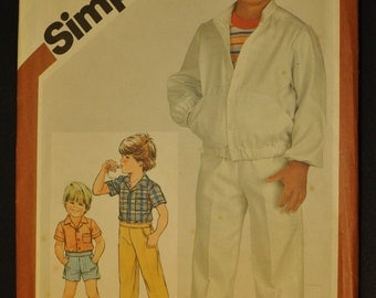 Child's Pants or Shorts, Shirt and Unlined Jacket Size 6 Uncut Vintage 1980s Sewing Pattern-Simplicity 5869