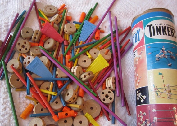 Vintage 1960's Tinkertoy, with original canister, includes 187 pieces