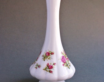 Vintage Fine Bone China Ruby Wedding Floral Vase Rosina China England