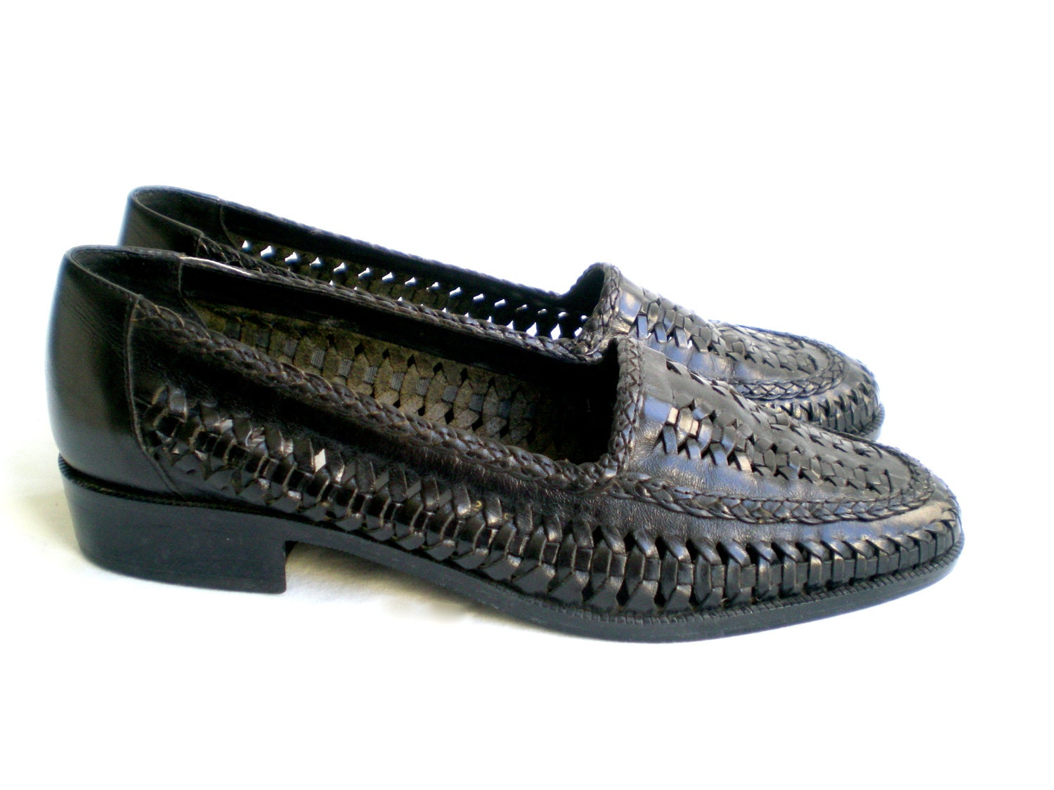 Vintage 80s Huarache Loafers Black Woven Leather Slip On