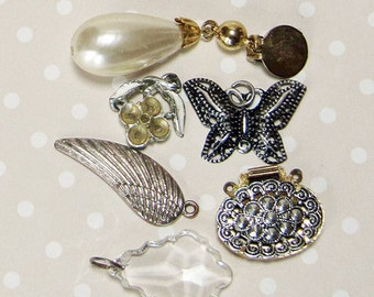 Lovely Set of Vintage Retro Steampunk Mixed Pendants - Faux Pearl Earring, Butterfly, Angel Wing, Flower, Faux Crystal