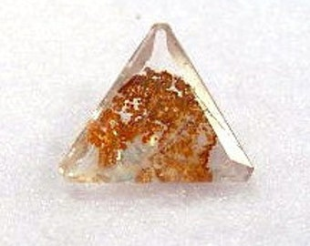 Dendritic Citrine with Included Jurassic Minerals Modified Triangle Faceted Gemstone - LS: DenCitrine16Triangle