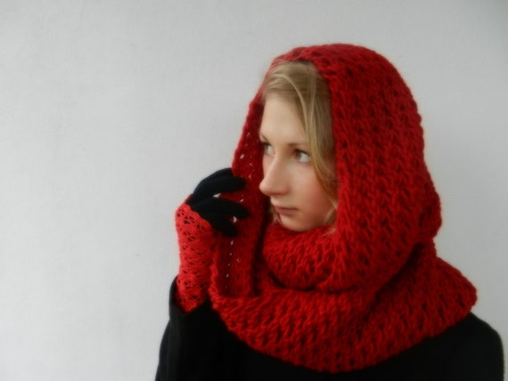 Red Knitted Tube scarf - Infinity Scarf - Circle Scarf - winter accessory - Hand Knitted scarf
