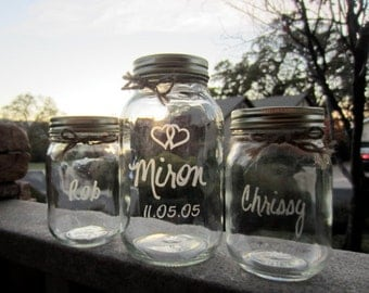 Sand Ceremony, Mason Jars, Personalized Jars
