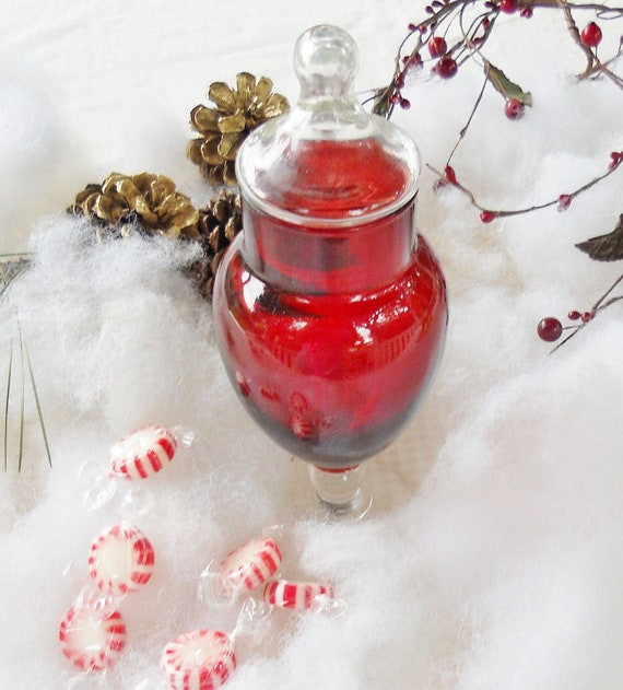 Christmas red and clear glass candy dish vintage candy jar for Christmas glass jars
