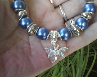 Blue dragonfly in flight, Euro style bracelet