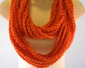 Free US Shipping: Pumpkin Infinity Crocheted Rope Chain Necklace/Scarf