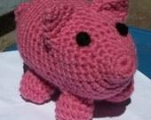 Pink Stuffed Pig, Crochet Stuffed Animal