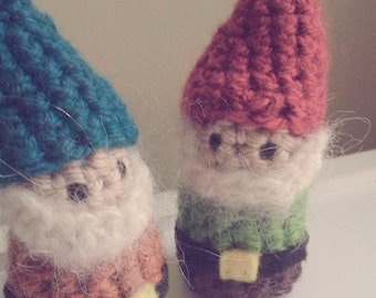 Gnome Crochet Stuffed Doll Toy Lucky Pocket Teal Orange Yarn
