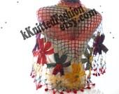 Rainbow SHAWL Handmade Flower Mohair Triangle Shawl/Crochet shawl