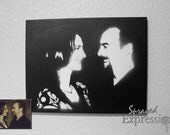 "Customizable Couples Portrait Spray Paintings, 11""x14"" Canvas - Made to Order"
