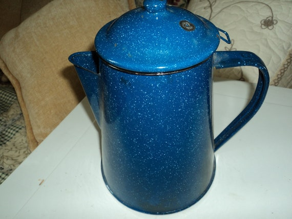 Blue enamel coffee pot with working parts  Reserved