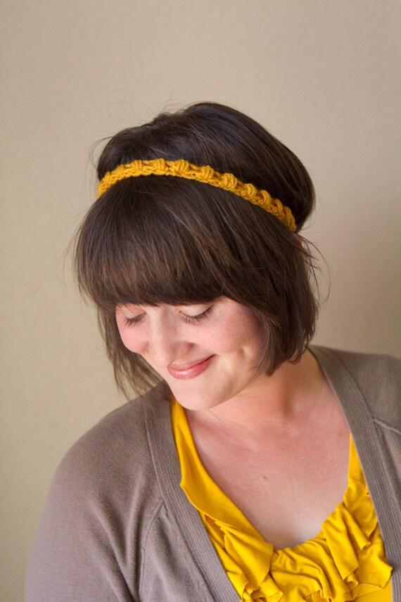 Crochet Mustard Skinny Headband
