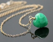 JADE Necklace - Gold Filled, Green Heart Jade Necklace, Good Luck Charm.
