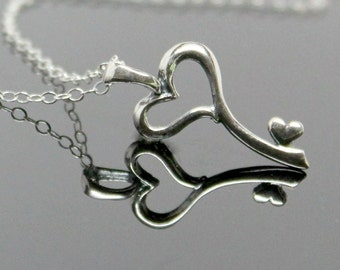 Heart KEY Necklace - Sterling Silver, KEY to my Heart Necklace, Silver Key Necklace.