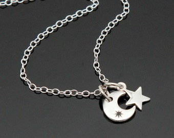 Tiny Crescent Moon Star Necklace, Sterling Silver, Moon and Star Necklace.