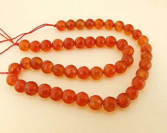 One Full Strand--- Faceted Round Candy Red Agate Gemstone Beads----8mm ----about 48Pieces----14.5inch strand