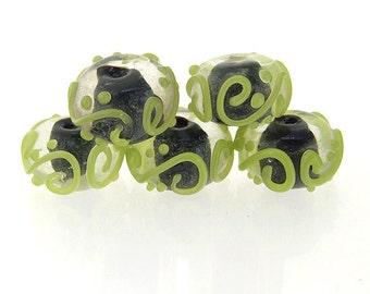 Charm Handwork Black Lampwork Olive Twist Gemstone Beads Rondelle Shape ---- 9mmx15mm ----about 5 Pieces
