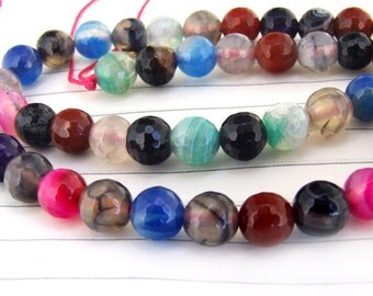 """Big Round Faceted Full Strand Multicolor Agate Beads ----- 8mm ----- about 48Pieces ----- gemstone beads--- 15"""" in length"""