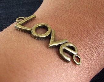10 Beads Charm Love Word bronze Plated Victorian Links Base Fitting Beads ----- 15mmx 40mm ----- 10Pieces 2A