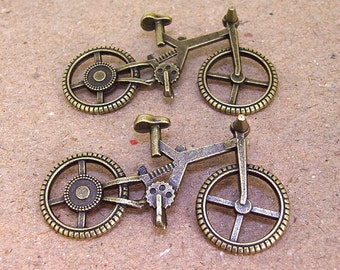 3Beads Charm Bicycle Pendant Bike bronze Plated Victorian Pendants Base Link Beads ----- 28mmx 50mm ----- 3Pieces 2Q