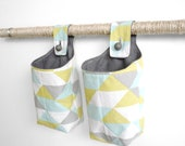 Small Fabric Baskets, Mint Yellow and Gray Geometric Hanging Baskets, Storage Solutions LAST CHANCE