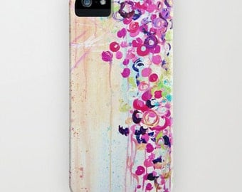 DANCE of the SAKURA Girly Floral iPhone 5s 5c SE 6 6s 7 Plus Case Samsung Galaxy Hard Cell Phone Pink Cherry Blossoms Abstract Painting