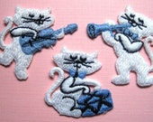 Cotton Embroidered Musical Kittens Appliques, Multicolor, x 3, Embellishment For Scrapbook, Stationary, Mixed Media, Apparel, Accessories