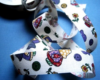 """Little Nomad With Buttons Cotton Ribbon Trim, Multi / Cream, 7/8"""" inch wide, 1 yard, For Scrapbook, Decor, Accessories, Mixed Media"""