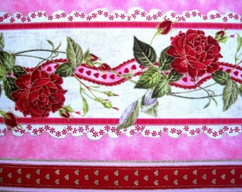 """REMNANT - Rosebud Hearts Stripe Fabric, Fat Quarter, Multicolor / Pink / Red, 18"""" X 22"""" inches, for Victorian & Romantic Projects"""