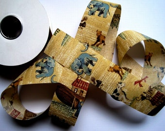 "Noah Ark Cotton Ribbon Trim, Multi /Tan, 1 3/8"" inch wide, 1 yard, For Mixed Media, Scrapbook, Altered Art, Home Decor, Accessories"