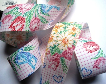 """Embroidery Bouquet Cotton Ribbon Trim, Multi / Pink, 1 7/8"""" inch wide, 1 yard, For Mixed Media, Gifts, Scrapbook,  Home Decor, Accessories"""