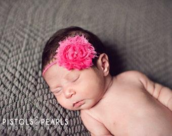 Hot Pink Chiffon Baby Flower Headband, Newborn Headband, Baby Girl Flower Headband, Photography Prop