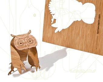 postcard wood - 3 owl cards