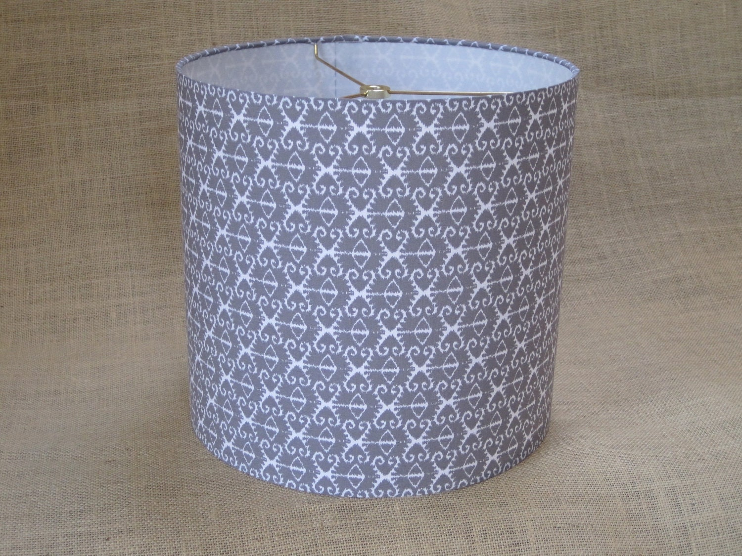 Lamp Shade Drum Lampshade Ikat In Grey Gray And White Ready