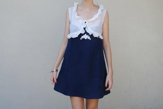 MAE.VALENTE Vintage 70s Lace and Blue Dress