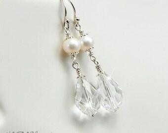 Swarovski Crystal And Pearl Earrings, Swarovski Raindrop Earrings, Sterling Silver, Wedding jewelry, Bridal Earrings, Crystal Earrings