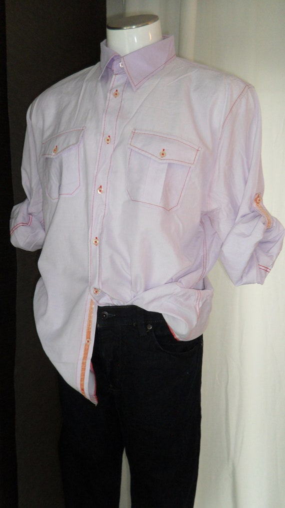 Arnold Zimberg (California) Men's 90's western style shirt with roll up sleeves: size US XL mens