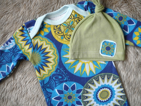 Newborn baby clothes.  Blues, yellow, and green set.  (gown and hat)   -READY TO SHIP-   (Made by lippy brand)
