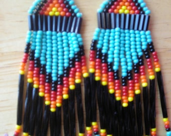 NEW design  Native American/ Southwest style beaded earrings Turquoise