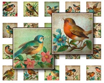 70% OFF SALE Birds on branches digital Collage sheet 1x1 inch for jewelry square pendants and magnets  digital collage sheet