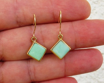 Turquoise Dangle Earrings ,gold earrings , turquoise  square  ,gold squares  Gold-filled earwire-Color of fashion  .