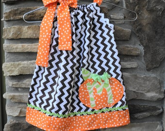 Custom Boutique Personalized Choclate Chevron Pillowcase dress   Sizes 0-6mo, 6-12mo, 12-18mo, 18-24mo, 2t, 3t, 4t, 5/6, 7/8
