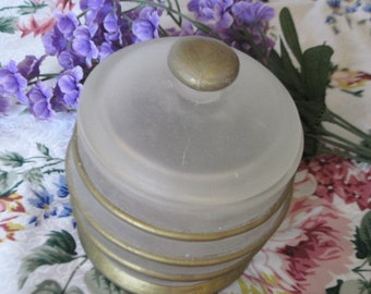 Pretty Frost Jar/  bottle / with Gold Strips  Very Retro:) On Sale See store heading