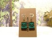 Handmade Turquiose Green Chevron Square Peyote Earring, Gift