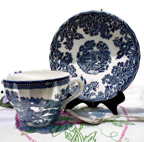 Blue and White China Teacup Churchill Staffordshire