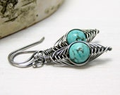 Genuine Turquoise Earrings, Oxidized Sterling Silver Herringbone Wire Wrapped Dangle Earrings December Birthstone Jewelry