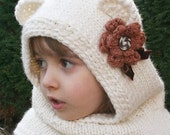 Knitting PATTERN Finnie Bear Hooded Cowl-Knitting pattern-Baby, Toddler, Child and Adult sizes- Bear Ears Cowl Scarf-Animal Ears Hat Cowl