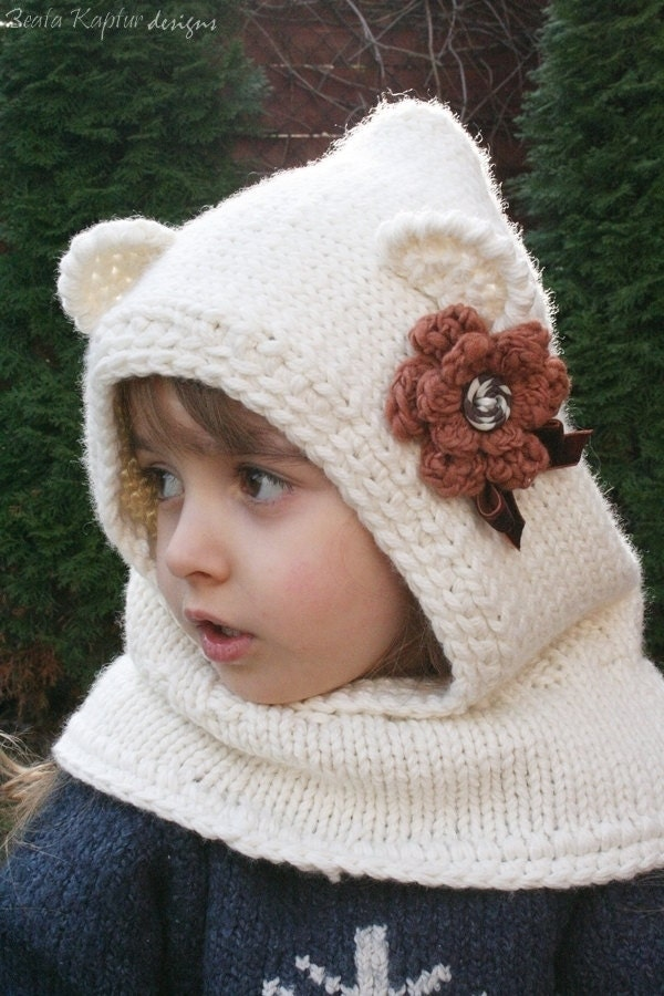 Cowl Hood Knitting Pattern : Knitting PATTERN Finnie Bear Hooded by BeaKapturDesigns on Etsy